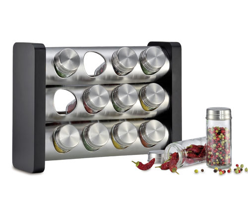 Küchenprofi - Spice rack with 12 glasses black