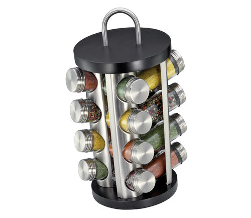 Küchenprofi - Spice rack with 16 glasses black