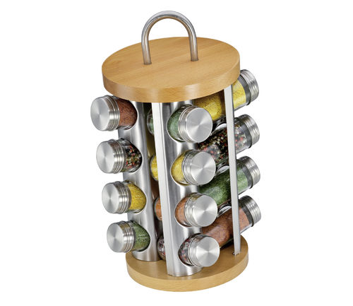 Küchenprofi - Spice rack with 16 glasses beech