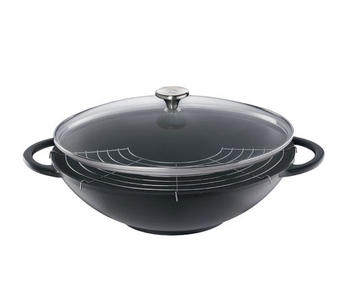Küchenprofi - PROVENCE - Wok with Glass Lid - black